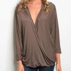 Mocha Surplice Blouse with Hood